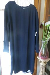 Classic-Style-DISCOVERY-Blue-Corporate-DRESS-Size-24-NWT-REDUCED
