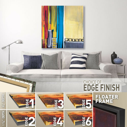 "LINEAR BRIGHT SEGMENT ABSTRACT CANVAS 36W/""x36H/"" LEVITATE by LISA KOWALSKI"