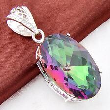 Natural Shiny Rainbow Mystic Topaz Gemstone Silver Necklace Pendant 72 Cts