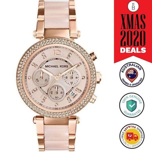 FLASH SALE New Michael Kors Ladies Watch Parker Rose Gold Blush Acetate MK5896