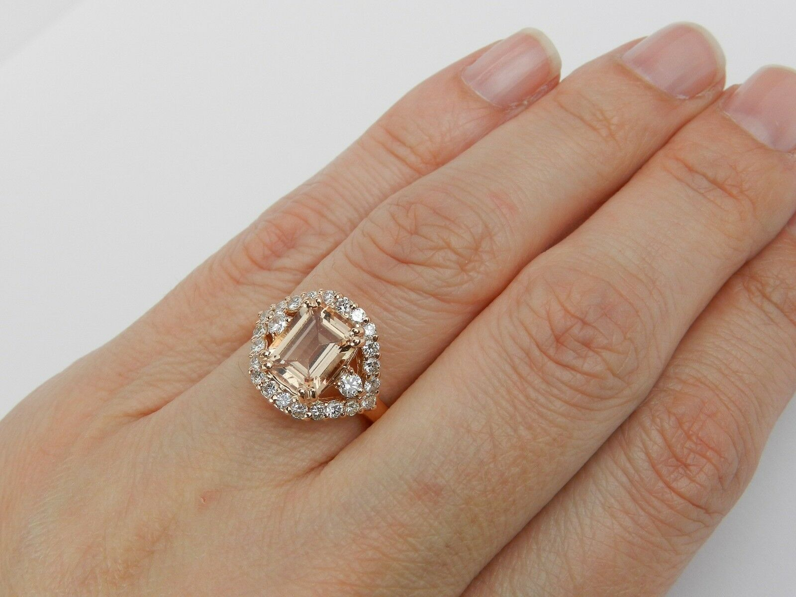 2ct Emerald Cut Peach Morganite Halo Stylish Engagement Ring 14k pink gold Over