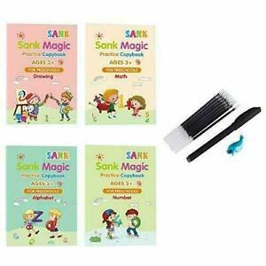Magic Practice Copybook 4Pcs with Pen & Pen Grip