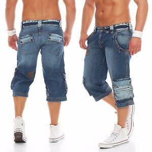 Herren-Cargo-Shorts-Capri-Bermuda-kurze-3-4-Jeans-Used-Look-Denim-Hose-Blau-Neu