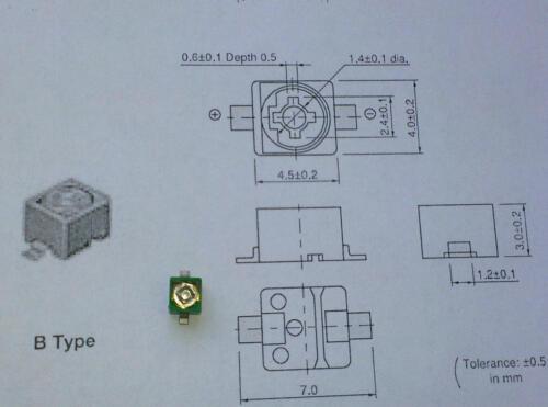 m1596 3 pièces Murata smd HF-trimmer 6,5 pf.. 30 pf//100v vert série tzb4