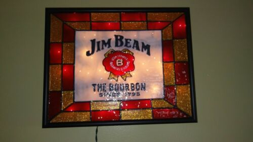 Jim Beam Inspired Bar Sign Stained Glass Look Lighted Hand Painted