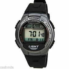 Casio W734-1A Men's Black Resin Band 60 Lap Memory Countdown Timer Sports Watch