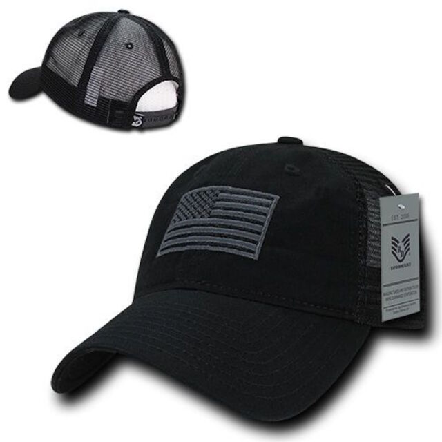 59576212f4e American USA US Flag United States America Baseball Hat Cap Mesh Trucker  Black