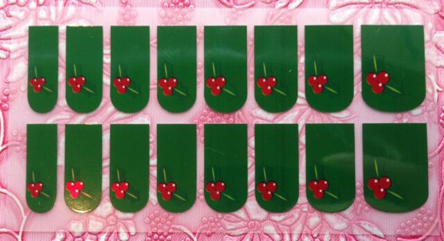 NAIL ART DECALS FOIL WRAPS 4 FINGERS OR TOES CHRISTMAS HOLLY & BERRIES #989