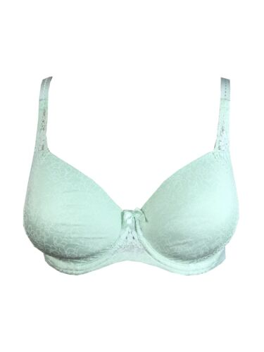 LADIES EX FAMOUS STORES MINT GREEN VINTAGE LACE FULL CUP T-SHIRT BRA M/&5 M S