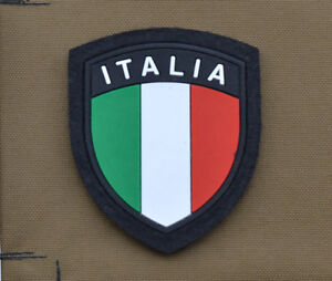 PVC-Rubber-Patch-034-Italian-Italia-Flag-Shield-Black-034-with-VELCRO-brand-hook