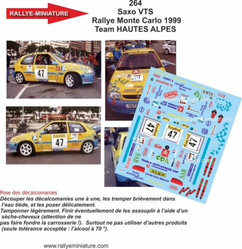 DECALS 1//24 REF 0264 CITROEN SAXO VERGERPION RALLYE MONTE CARLO 1999 WRC RALLY