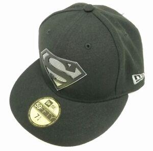 5981ebbf9aa Superman Logo Hexshine Black 7 1 4 Fitted Cap DC Comics New Era ...