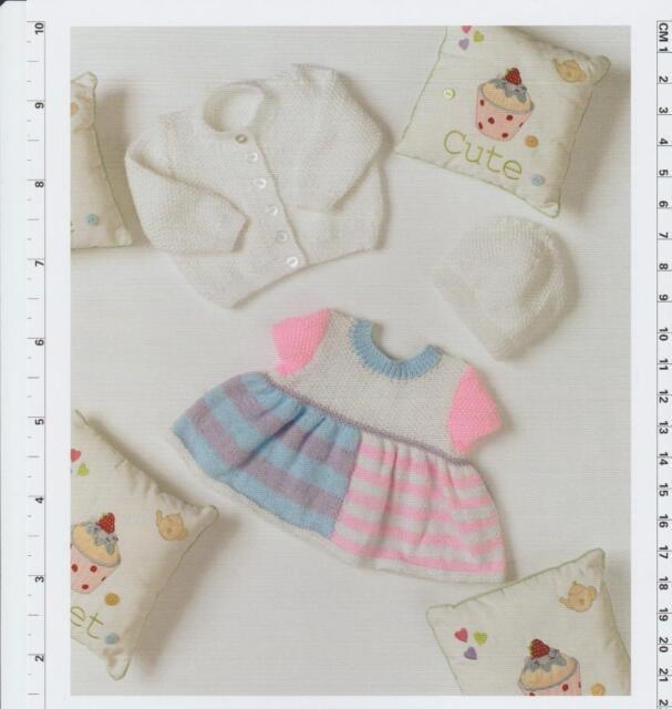 d03e12d90 UKHKA 129 Baby Girls Dress Hat Cardi DK Knitting Pattern Prem ...