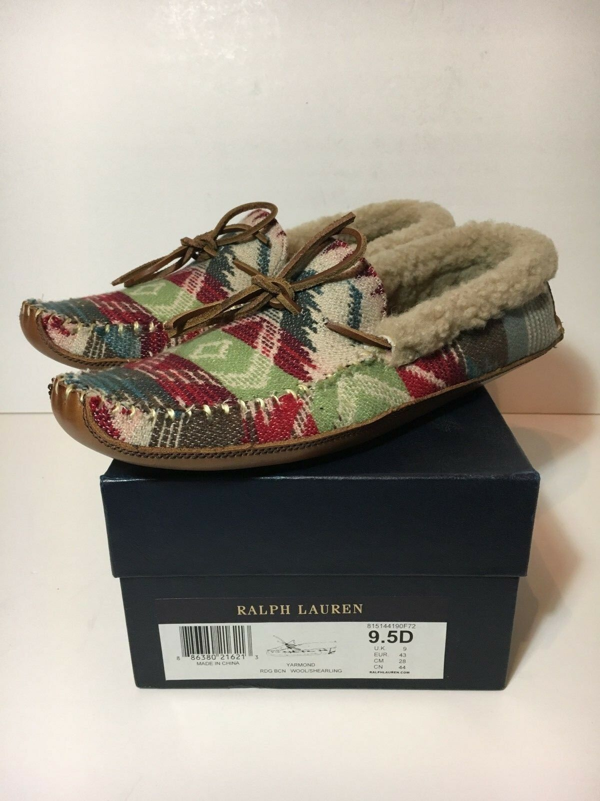 BRAND NEW RALPH LAUREN YARMOND RDG SIZE 9.5 MOCCASSINS NOS NAVAJO INDIAN TRIBE 9