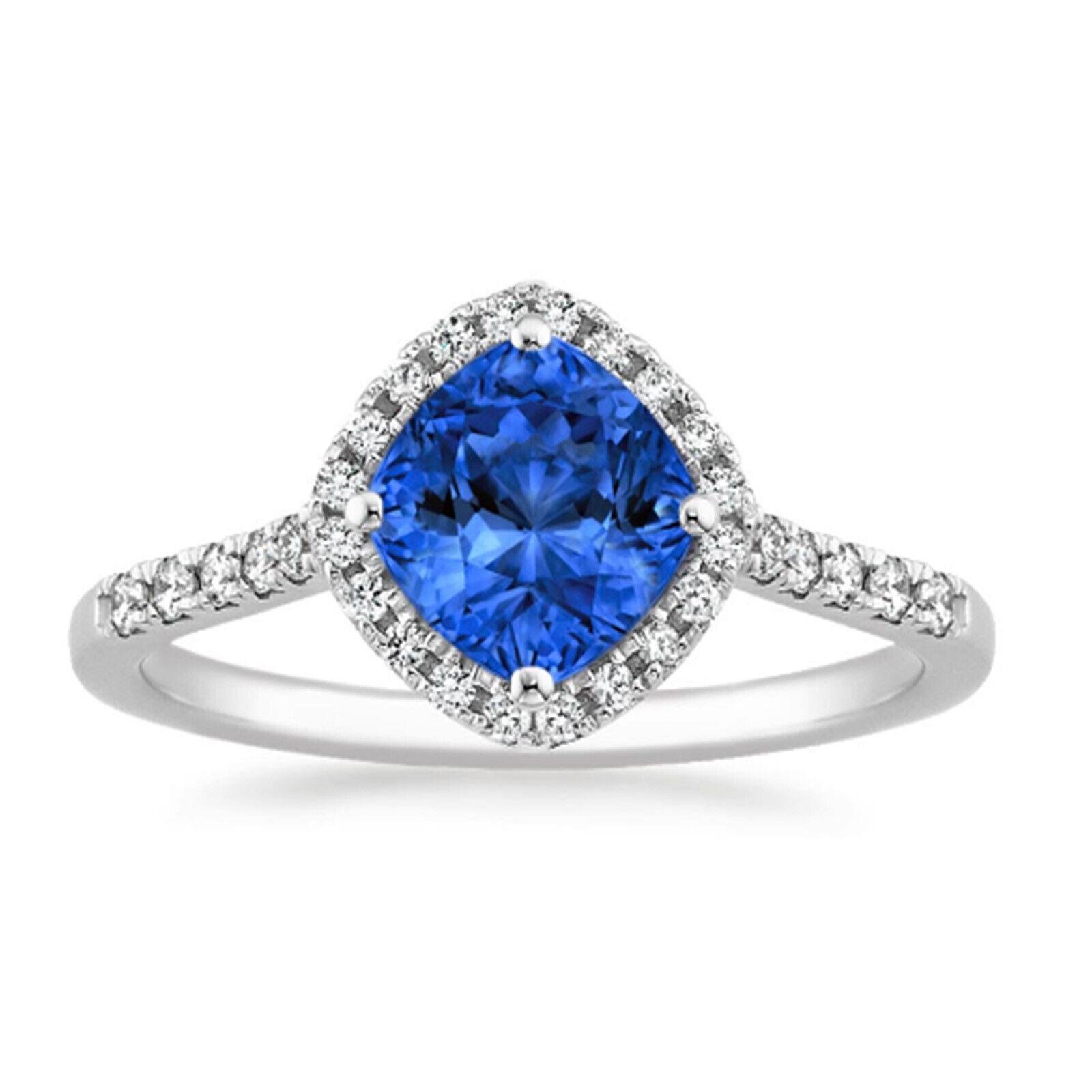 1.40 Ct Cushion Genuine Sapphire Diamond Wedding Ring 14K White gold Size 7.5 8