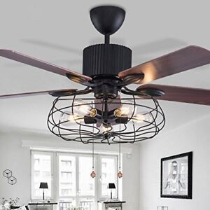 52 Quot Retro Industrial Ceiling Fan Light Elegant 5 Led Edison Bulb Living Room Ebay