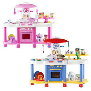 deAO Kitchen Play Set Cooking Light & Sounds Comes With 35 ...