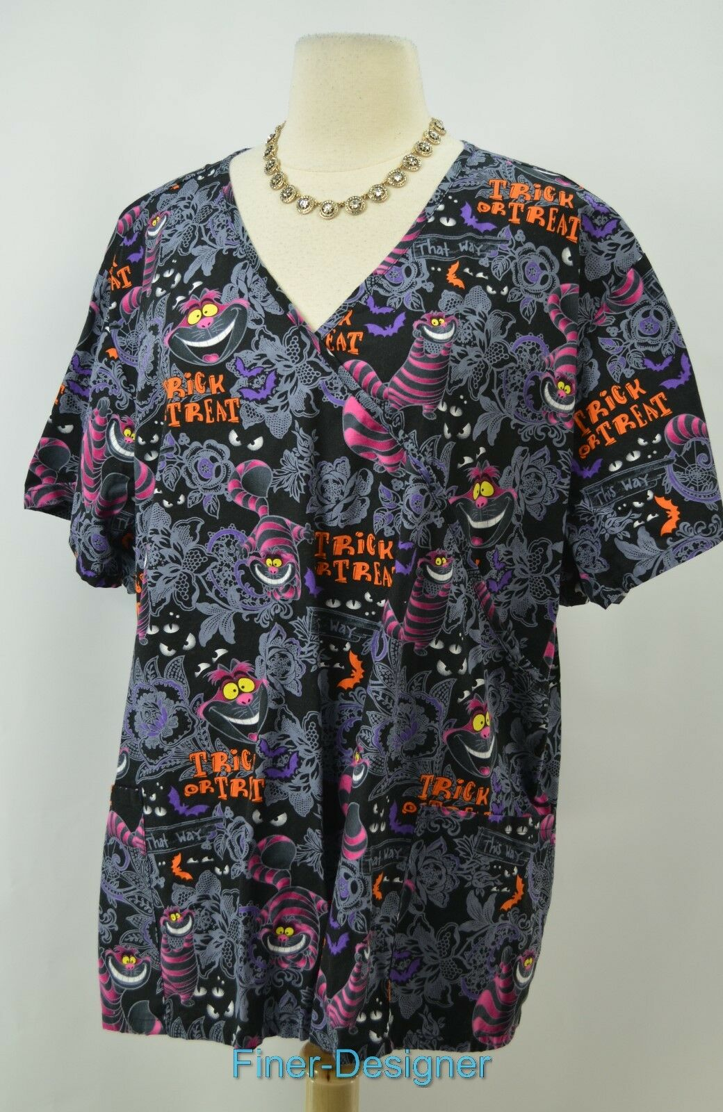 disney halloween scrubs top alice in wonderland cheshire cat blouse shirt 3x new