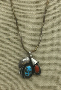 Vintage-Sterling-NECKLACE-Southwestern-Coral-Turquoise-Feather-lasoo-Pendant