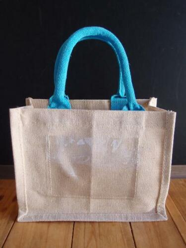 """Jute Blend Tote Bag With Picture Pocket 10/"""" x 8/"""" x 5/"""""""