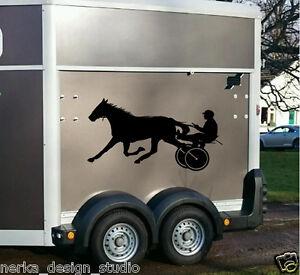 Cheval de course autocollants / stickers deux chevaux / cheval remorque autocollants / N113  </span>