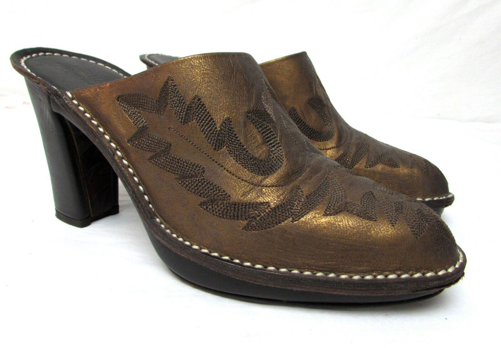 Donald J. Pliner women's size 7 N Narrow western clogs boots mules Bozza bronze
