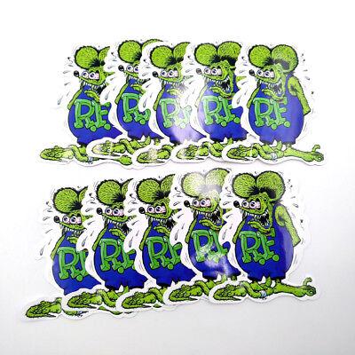 Green Rat Fink Wall 5pcs Vinyl Decal Ed Roth Big Daddy Bumper Stickers
