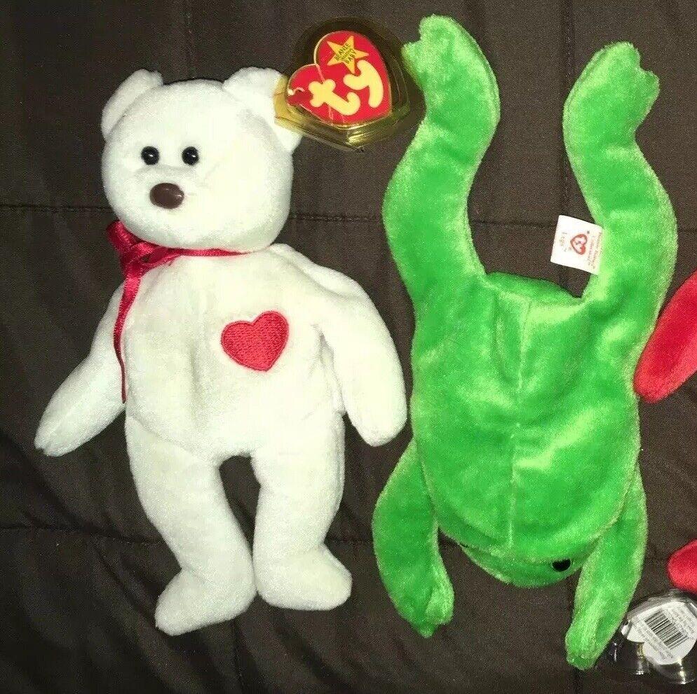 Lot 2 RARE, ERROR-FILLED & RETIRED TY Beanie Babies Valentino Bear & Legs Frog