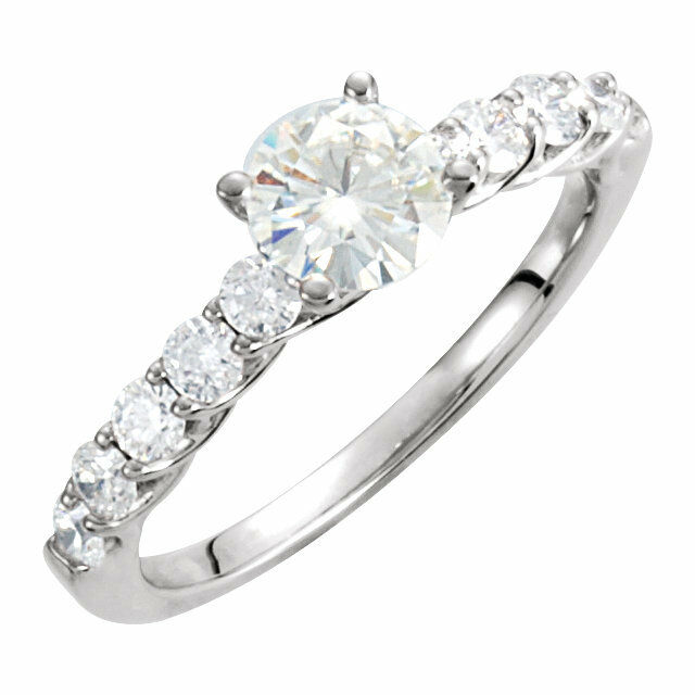 14K White Gold 5/8 cttw Diamond 6mm (3/4ctw) Created Moissanite Engagement Ring
