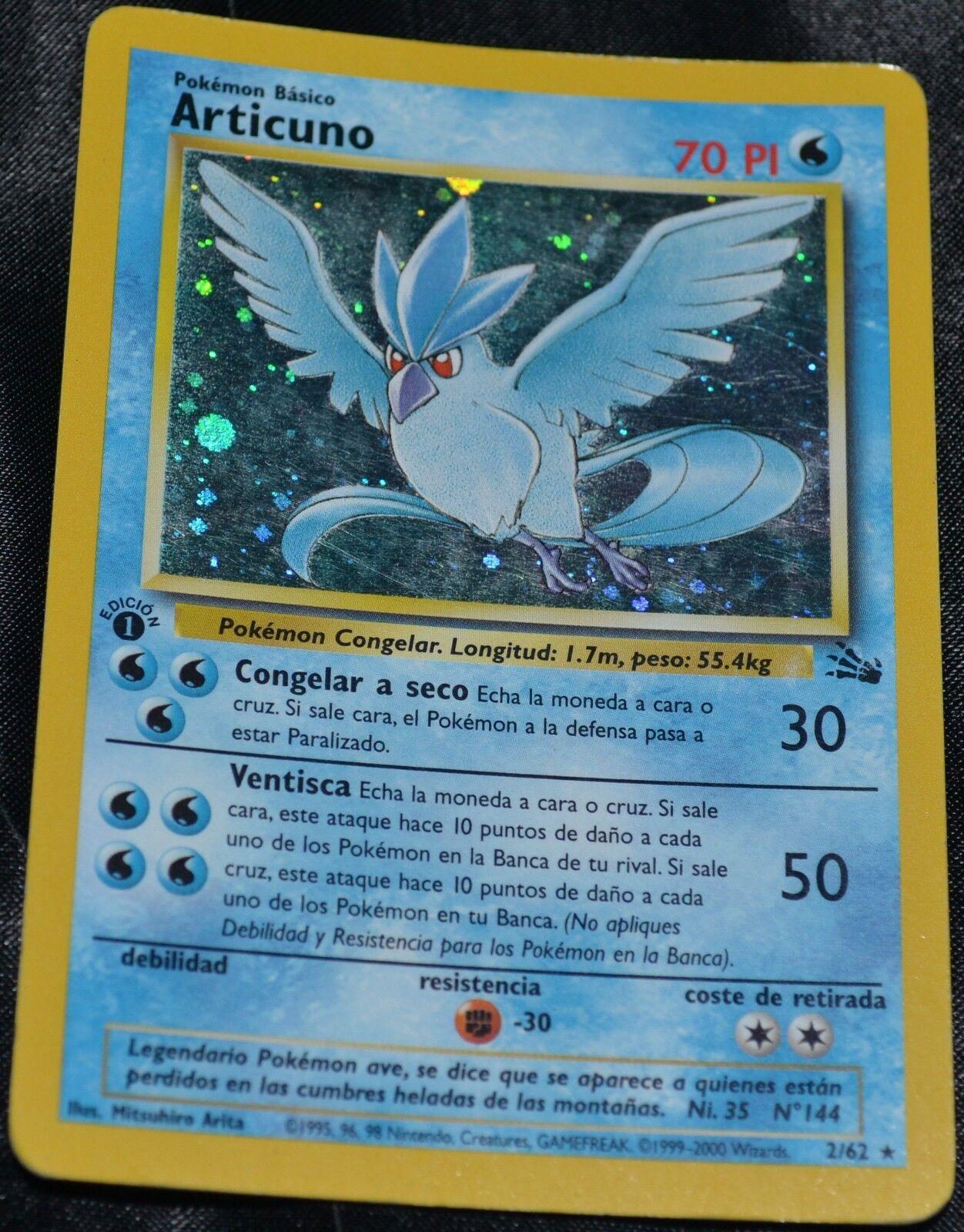 Spanische holo - folie articuno 2   62, 1. ausgabe, fossilen set pokemon tauschkarten hp