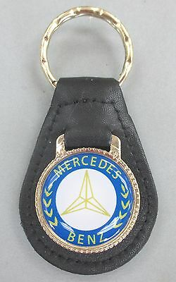 Leather BENZ Black Goldtone White Fob Blue MERCEDES Keyring Key fnUISxw