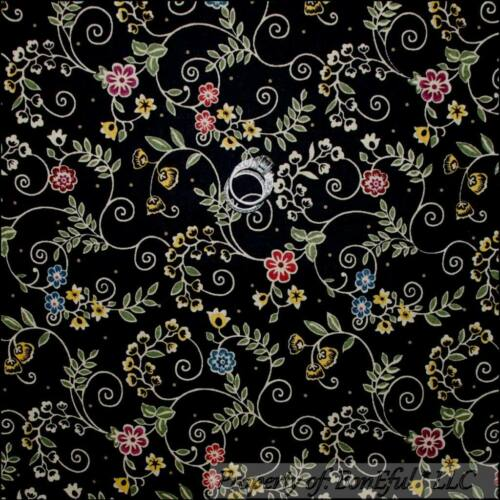 BonEful Fabric FQ Cotton Quilt Black Gold Pink Dot Flower Scroll Swirl Xmas Girl