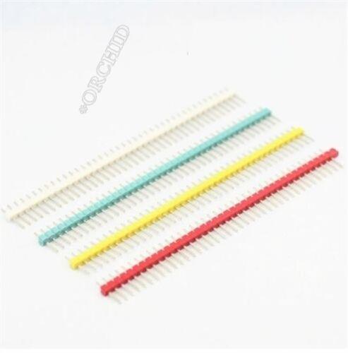6Pcs Red 2.54MM 40 Pin Male Single Row Pin Header Strip ea