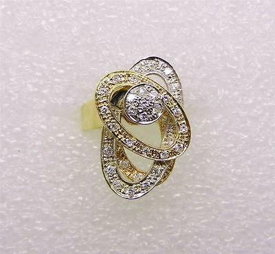 14K YELLOW GOLD-WHITE GOLD VINTAGE DIAMOND SPINNER RING - SIZE 8  -  LB2115