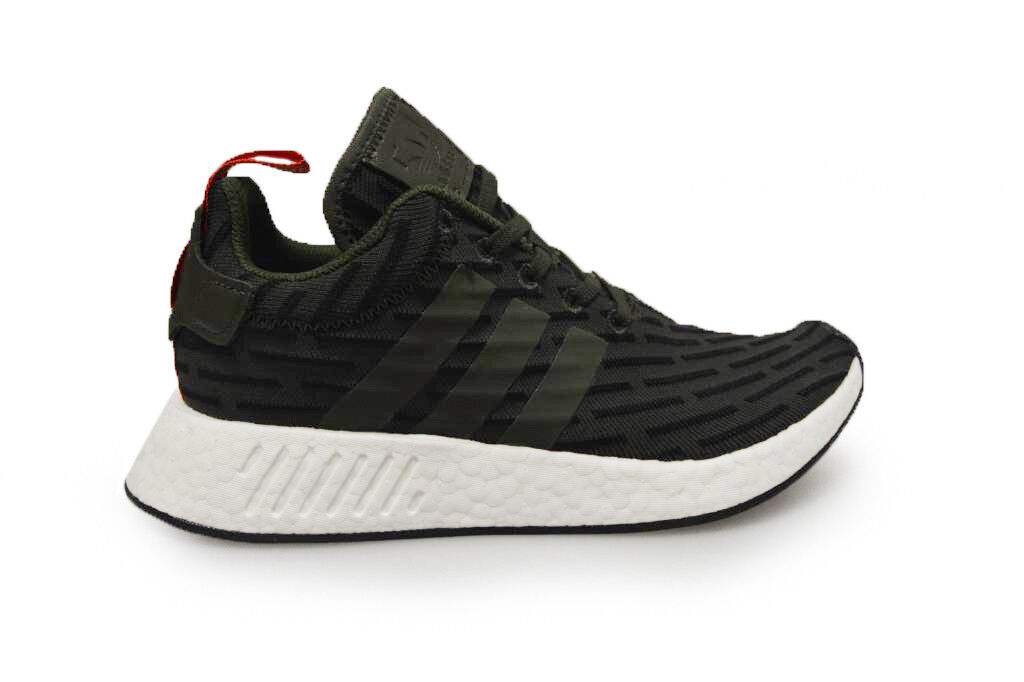 Mens Adidas NMD_R2   - BY2500 - Green WEISS ROT Trainers