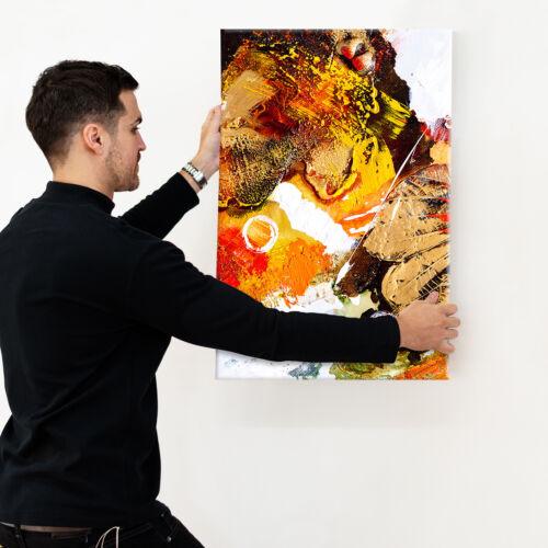 Retro Orange White Portrait Abstract Canvas Wall Art Large Picture Prints