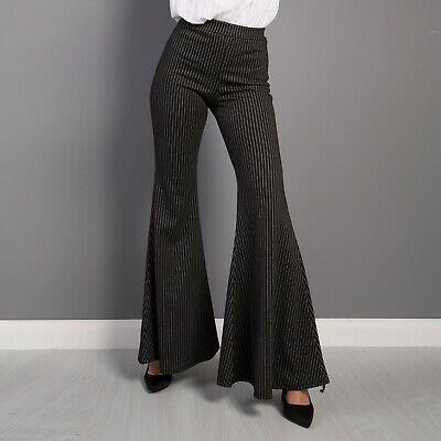 Pantalone donna a zampa d'elefante campana a righe gessato Bootcut nuovo 27120 | eBay