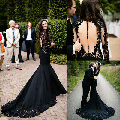Black Wedding Dresses Long Sleeve Gothic Mermaid Bridal Gown With Long  Train  eBay