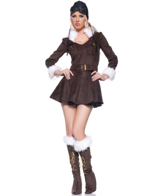Baroness Aviator Plane Pilot Womens Steam Punk Halloween Costume S-XL  sc 1 st  eBay : aviator halloween costume  - Germanpascual.Com