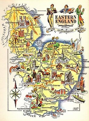 Map Of England Castles.1952 Vintage England Picture Map Cambridge Ipswich Lincoln England Map 4091 Ebay