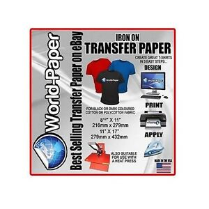 HEAT TRANSFER PAPER DARK COLOR 100 SHEETS hand IRON ON or Heat Press Machine :)