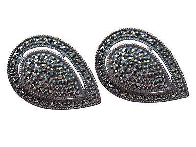 Judith Jack Sterling Silver Pierced Earrings Tear Drop Oval Marcasite 219g