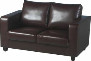 Excellent-Quality-2-Seater-Sofa-Brown-Faux-Leather-Brand-New-Fast-Delivery