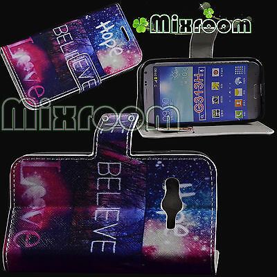 Cover Case Book Style Stand For Samsung Galaxy Trend 2 G313 Hope Believe Love
