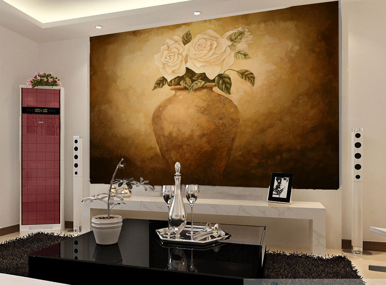 3D Flowers Bloom Vase Painted 7 Wall Paper Wall Print Decal Wall AJ WALLPAPER CA