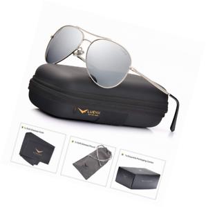 eab0b25b27 Image is loading LUENX-Aviator-Sunglasses-Mens-Womens-Polarized-Mirror-UV-