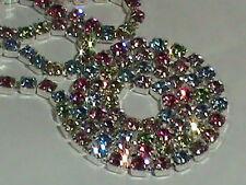 Swarovski Rhinestone Chain 2 Feet POLISHED SOLID STERLING CHAIN Multi Colors !!