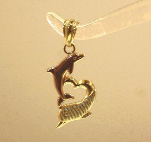 10MM HAWAIIAN 2-TONE SOLID 14K YELLOW ROSE GOLD DOLPHIN HEART CHARM PENDANT