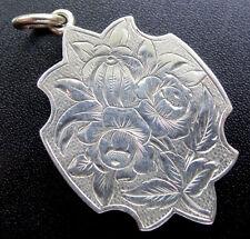 antique Victorian SILVER ornate flower ivy leaf photo locket pendant -N350