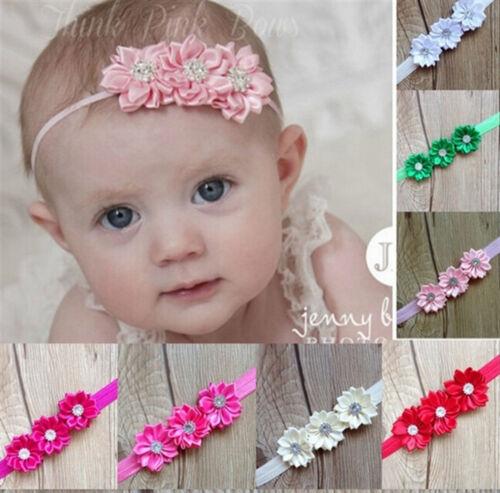 Fascia per Capelli Bambina Fiore Raso Fiori frontale Nastro Baby Battesimo Matrimonio-colore a scelta